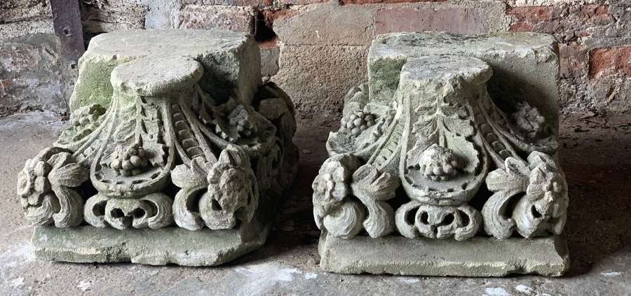 19TH CENTURY CARVED STONE COLUMN BASES