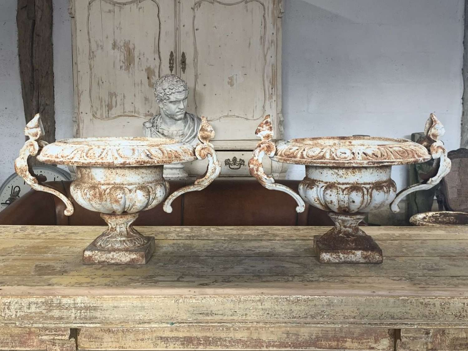 CAST IRON FRENCH URNS