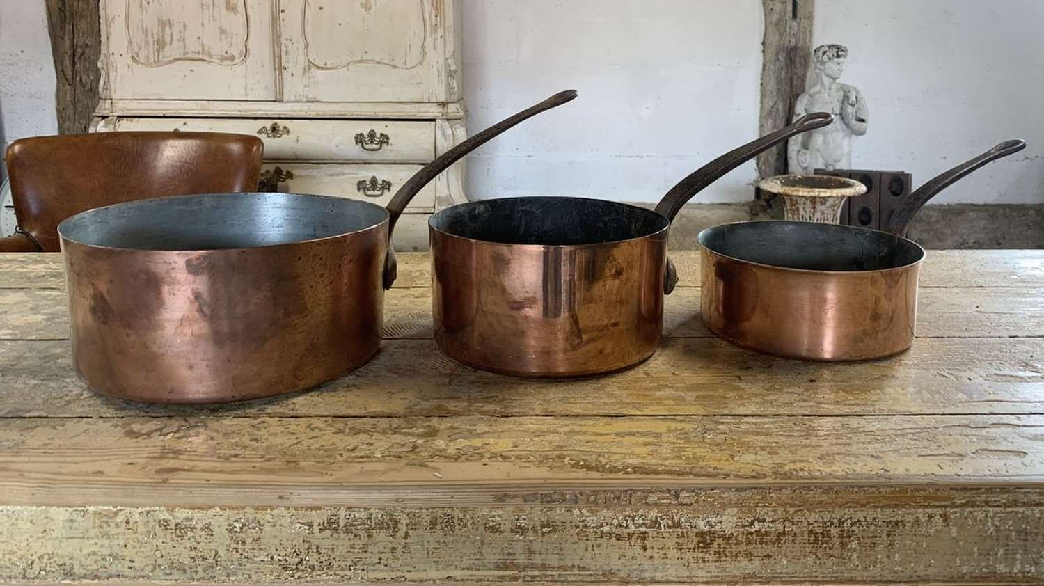 19TH CENTURY FRENCH COPPER SAUCEPANS