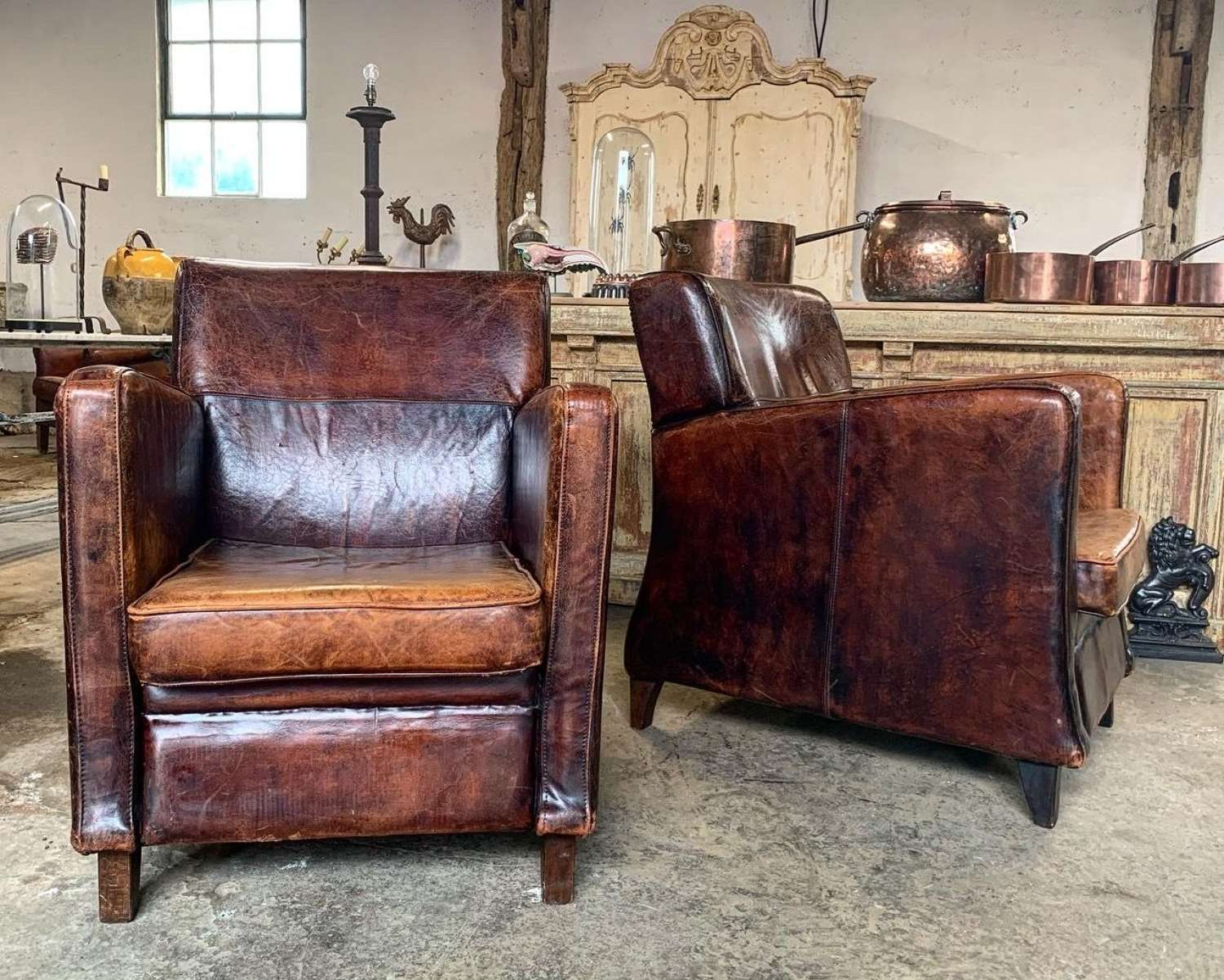 ART DECO STYLE LEATHER ARMCHAIRS