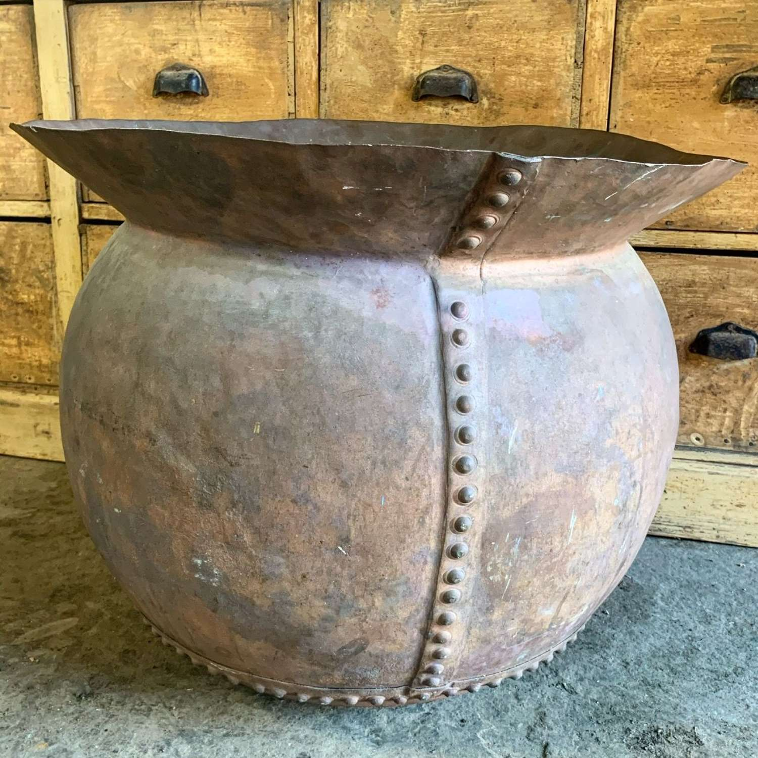 FRENCH RIVETED COPPER PLANTER