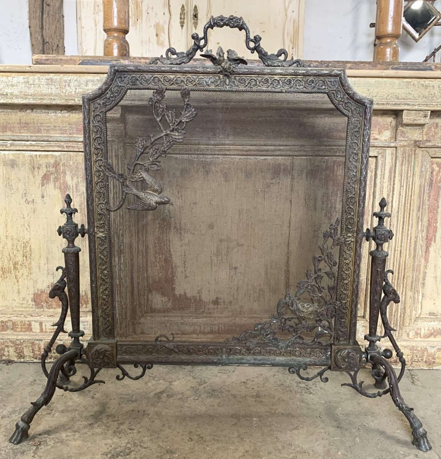 FRENCH BRONZE LOUIS XV FIRE SCREEN