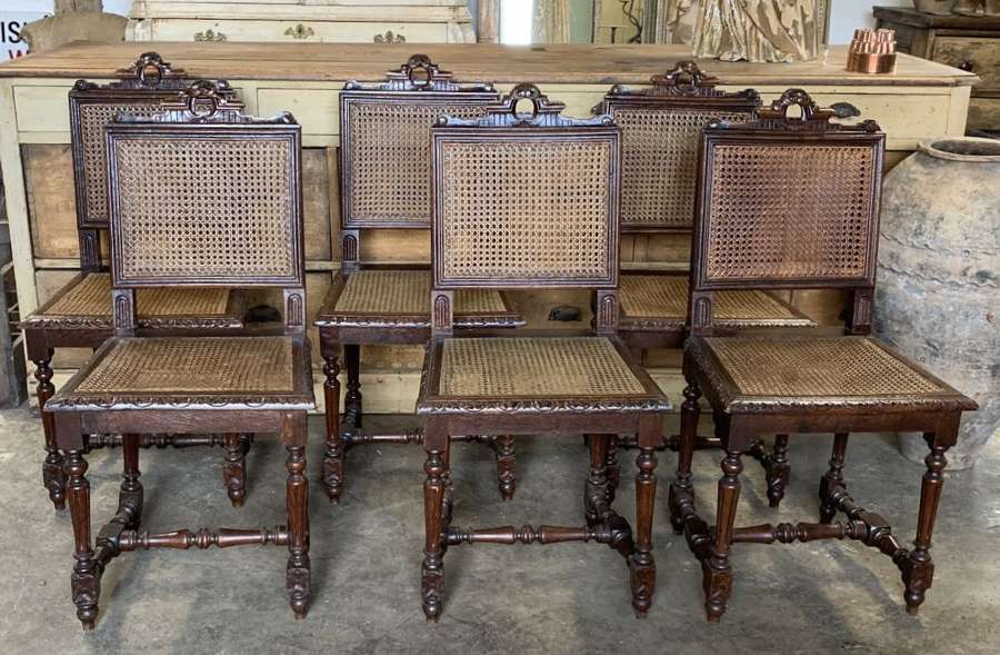 SET OF 6 FRENCH ANTIQUE DINNING CHAIRS