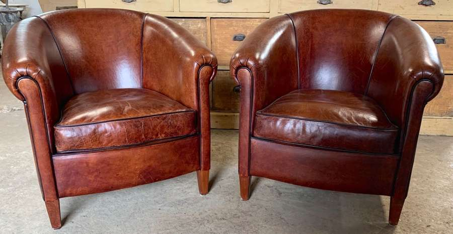 PAIR OF DUTCH LEATHER TUB CHAIRS