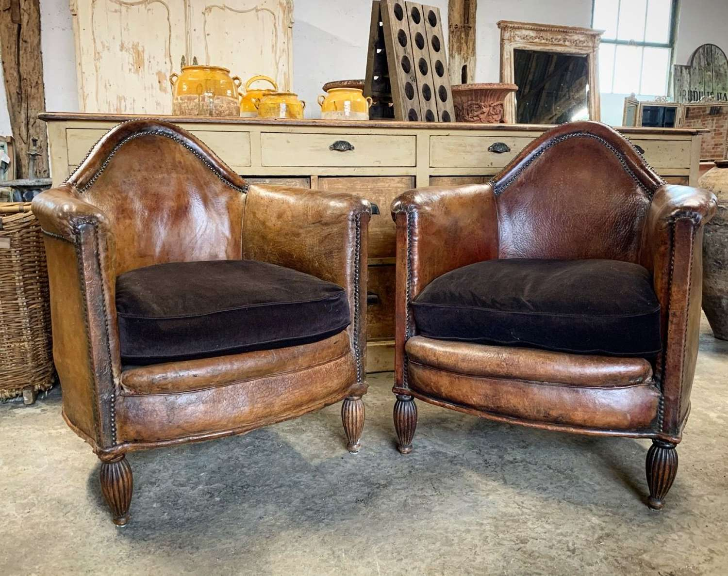 PAIR OF ANTIQUE LEATHER CLUB CHAIRS