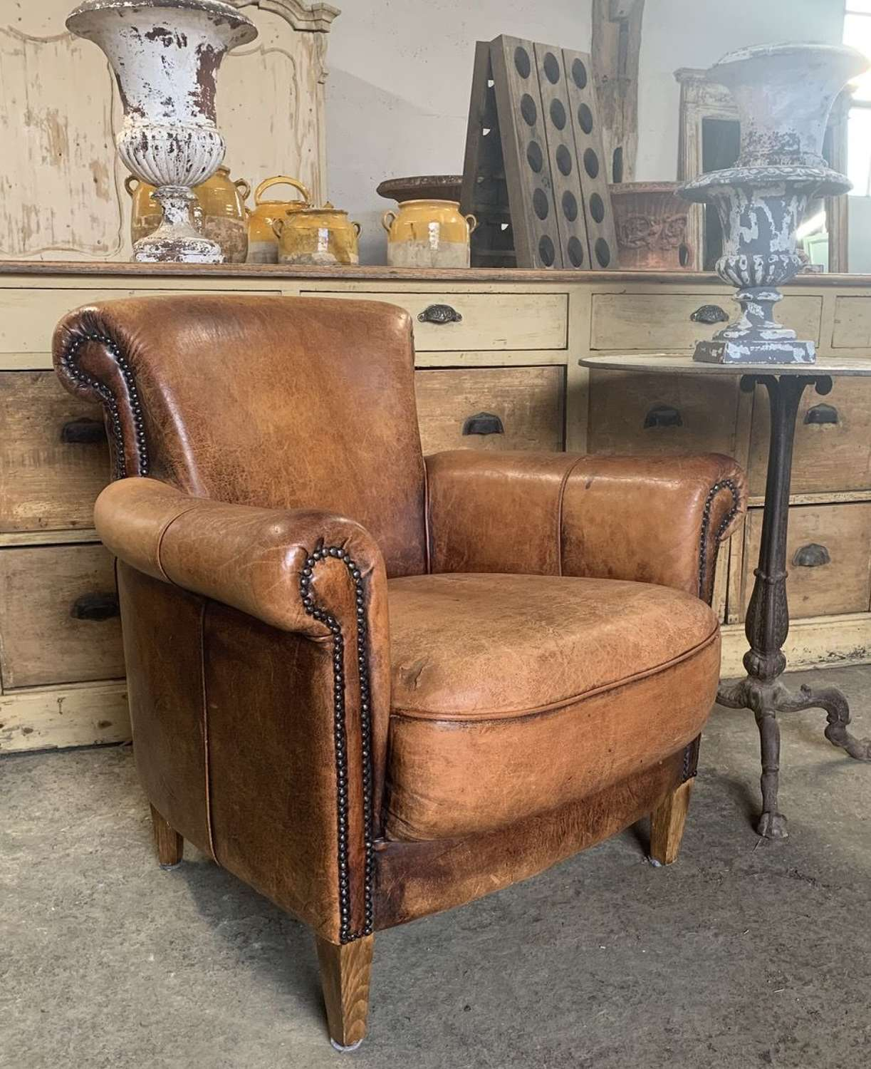 VINTAGE DUTCH LEATHER ARMCHAIR