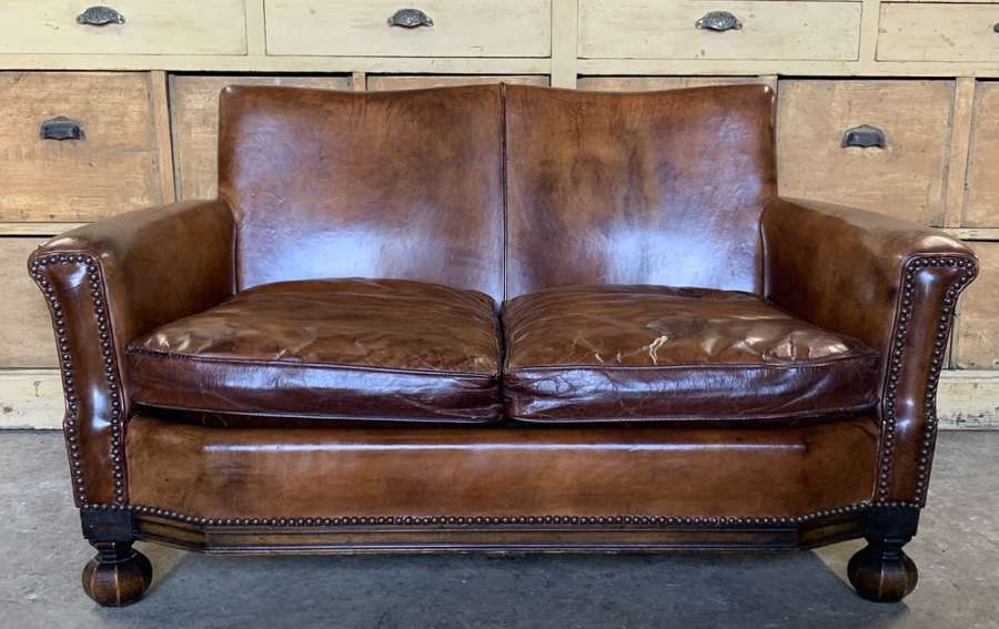 SMALL ANTIQUE LEATHER SOFA