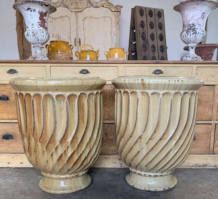 LARGE PAIR OF ANDUZE TERRACOTTA PLANTERS