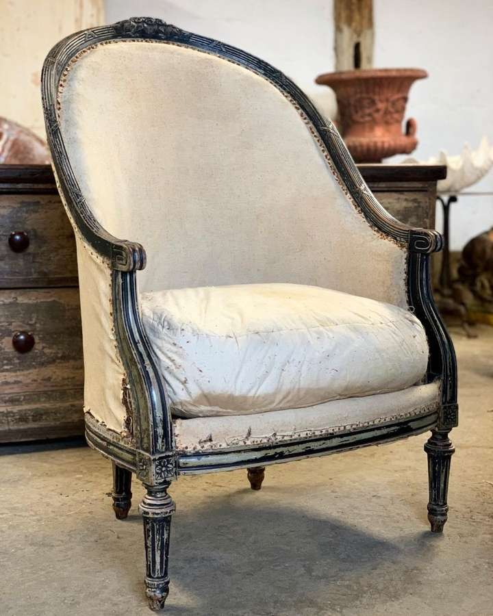 FRENCH LOUIS XVl STYLE HIGH BACK ARMCHAIR