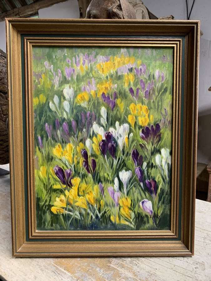 CROCUS PATCH OIL ON CANVAS