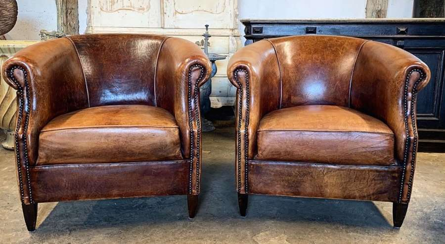 PAIR OF VINTAGE DUTCH LEATHER ARMCHAIRS