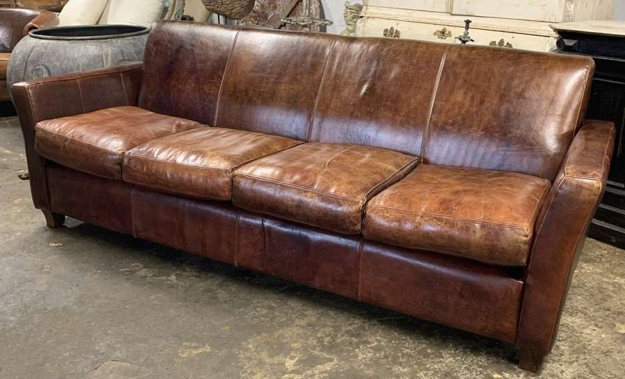 VINTAGE DUTCH LEATHER 4 SEATER SOFA