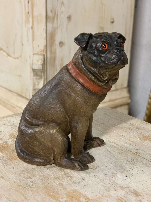 19TH CENTURY PAINTED TERRACOTTA PUG DOG