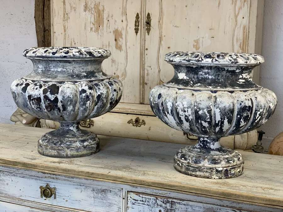 FRENCH 19TH CENTURY IRON & ENAMEL URNS