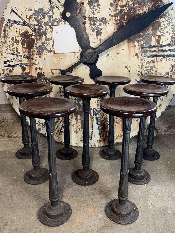 6 X CAST IRON BAR STOOLS