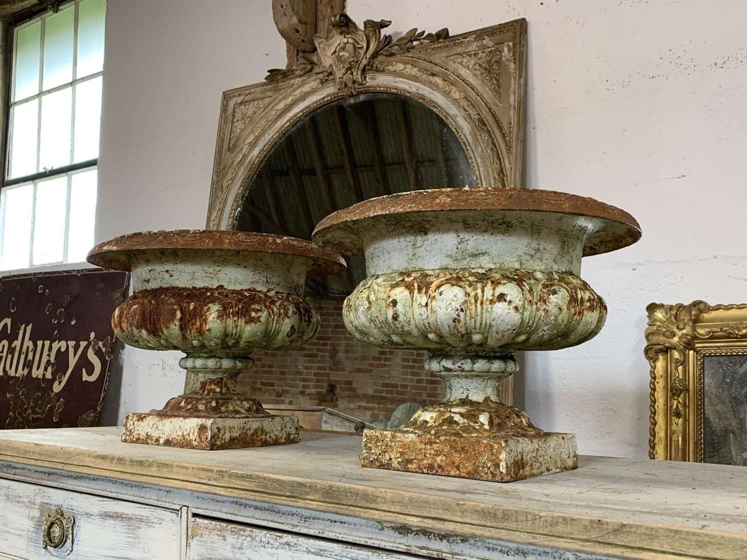 PAIR OF 19TH CENTURY FRENCH CAST IRON URNS