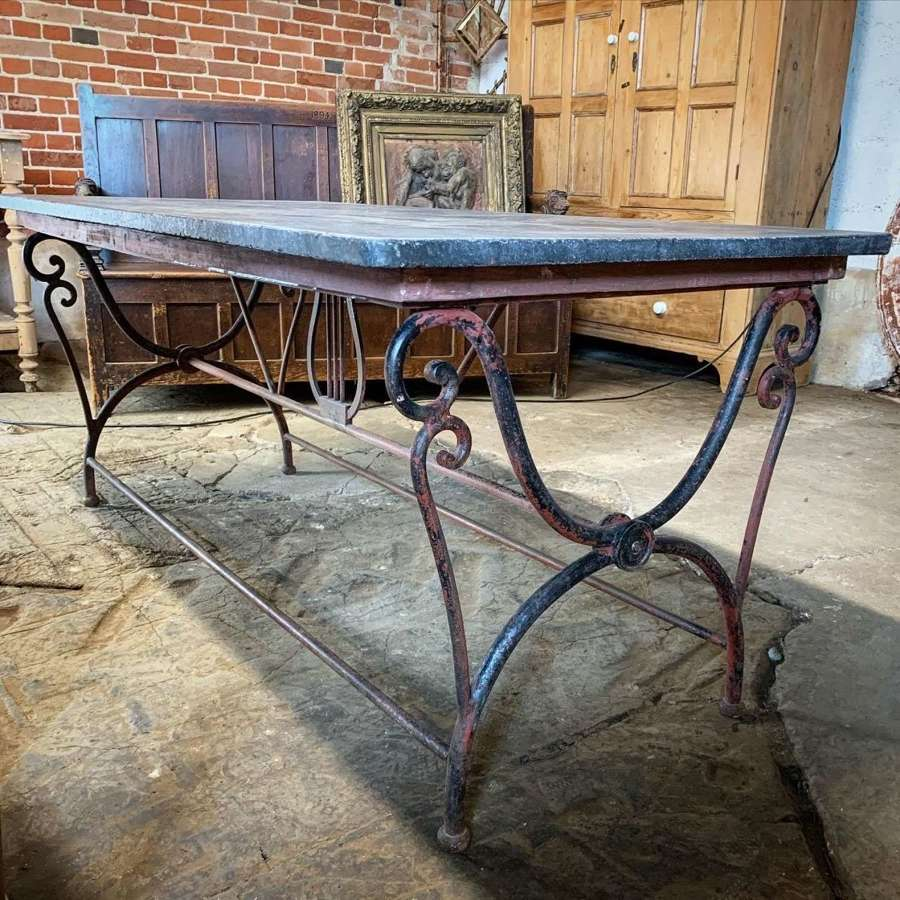 WROUGHT IRON & BLUE STONE CONFECTIONERY TABLE