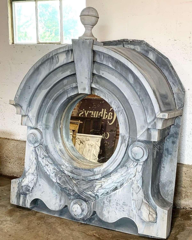 LARGE 19TH CENTURY FRENCH ZINC WINDOW FRAME MIRROR