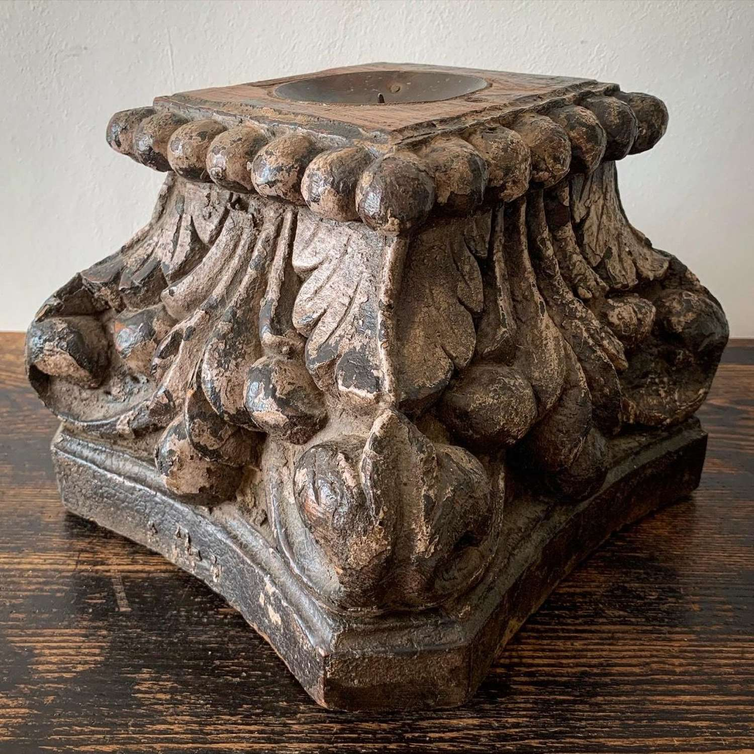 CARVED WOOD CANDLE CAPITAL BASE