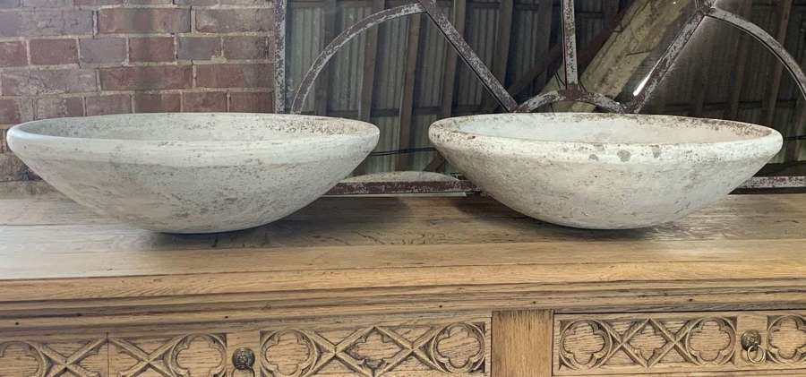 PAIR OF MID CENTURY WILLY GUHL STYLE CEMEMT PLANTERS