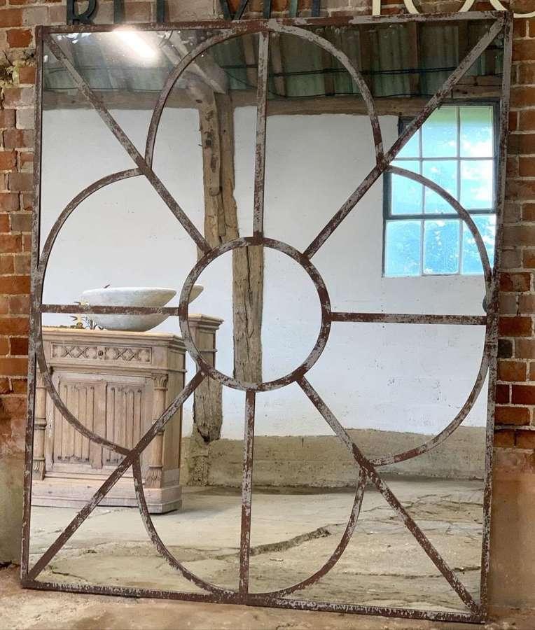 LARGE INDUSTRIAL WINDOW FRAME MIRROR