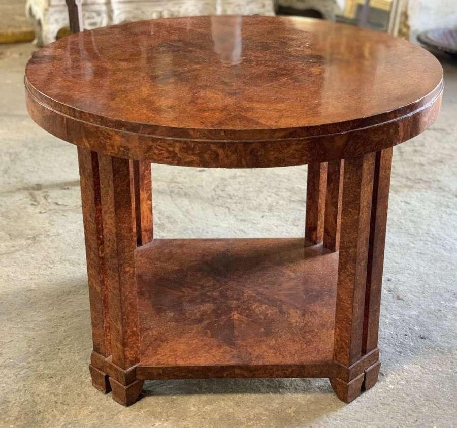 ART DECO AMBOINA BURL LOW TABLE