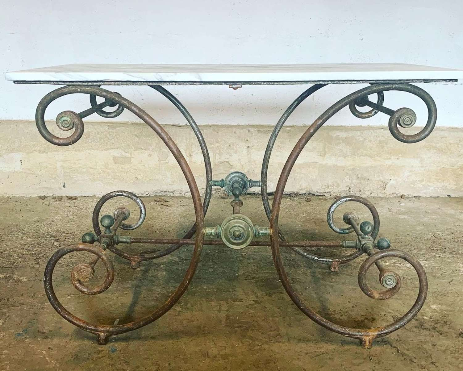 19TH CENTURY FRENCH IRON & MARBLE BUTCHERS TABLE
