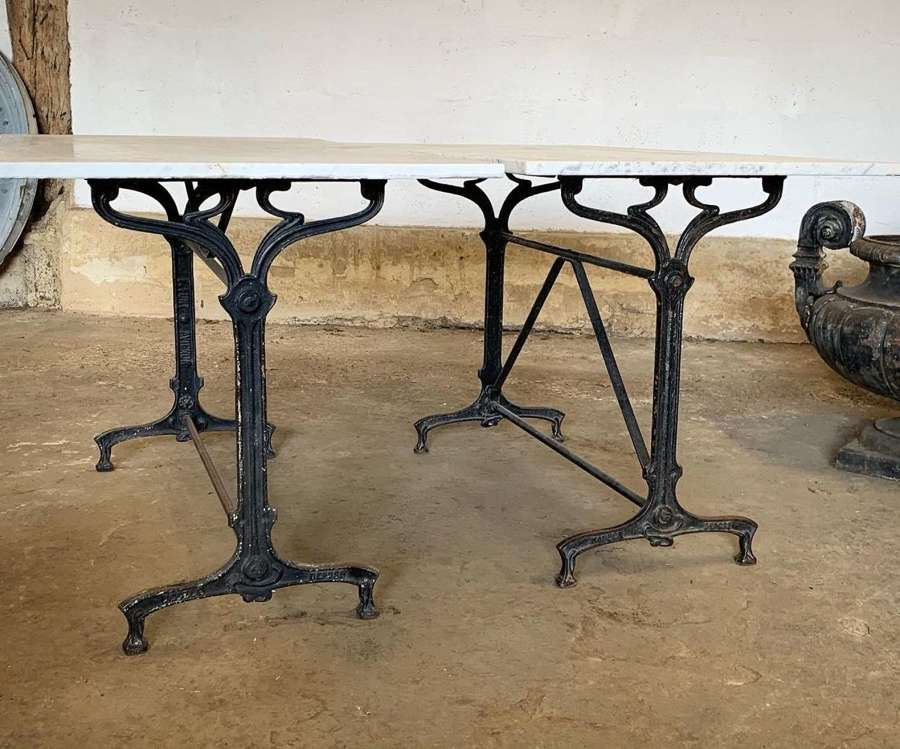 PAIR OF ANTIQUE FRENCH BISTRO TABLES