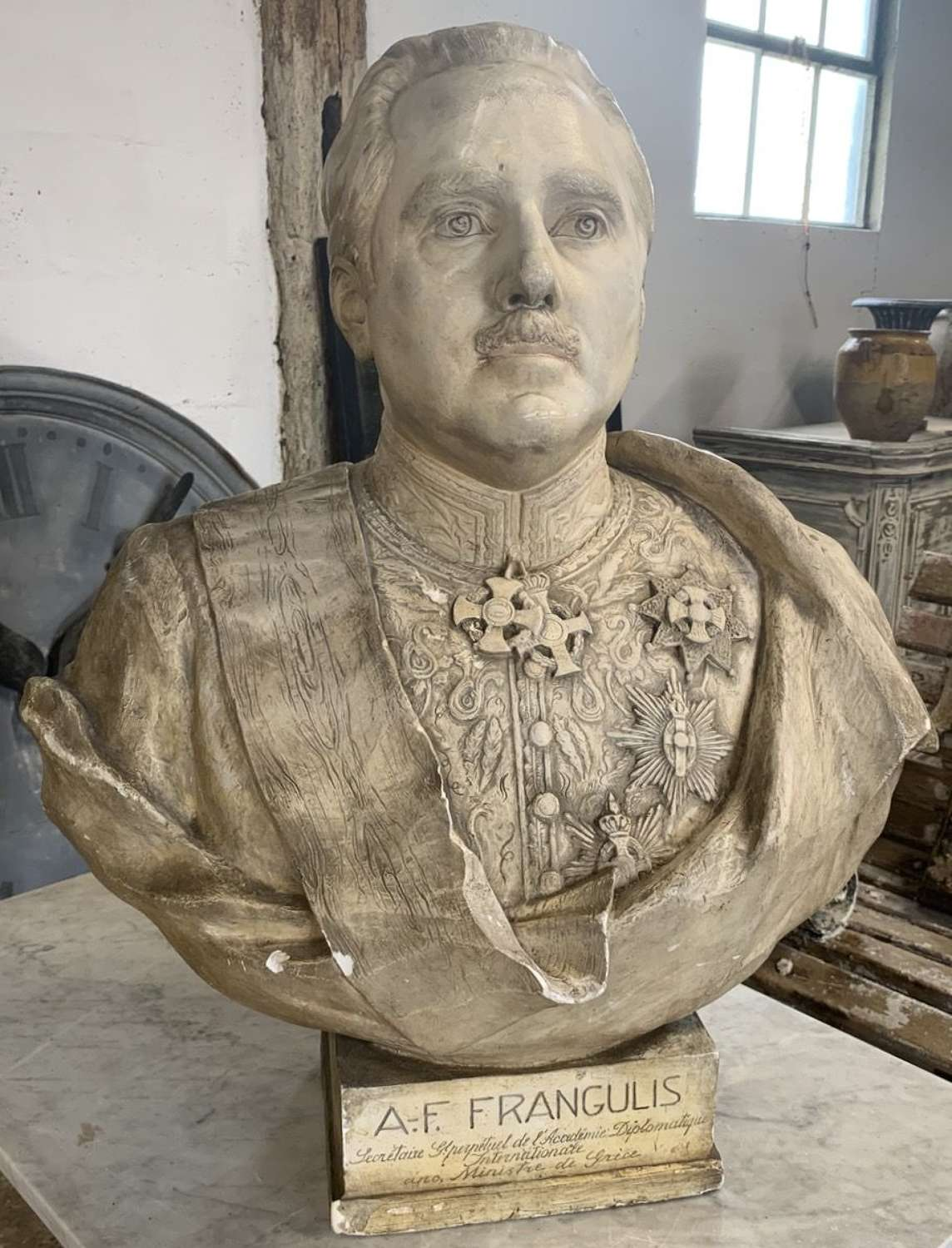 1933 PLASTER BUST BY AUGUST ALBO